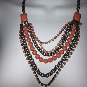 Talbots coral Necklace multi Strand bronze Tone
